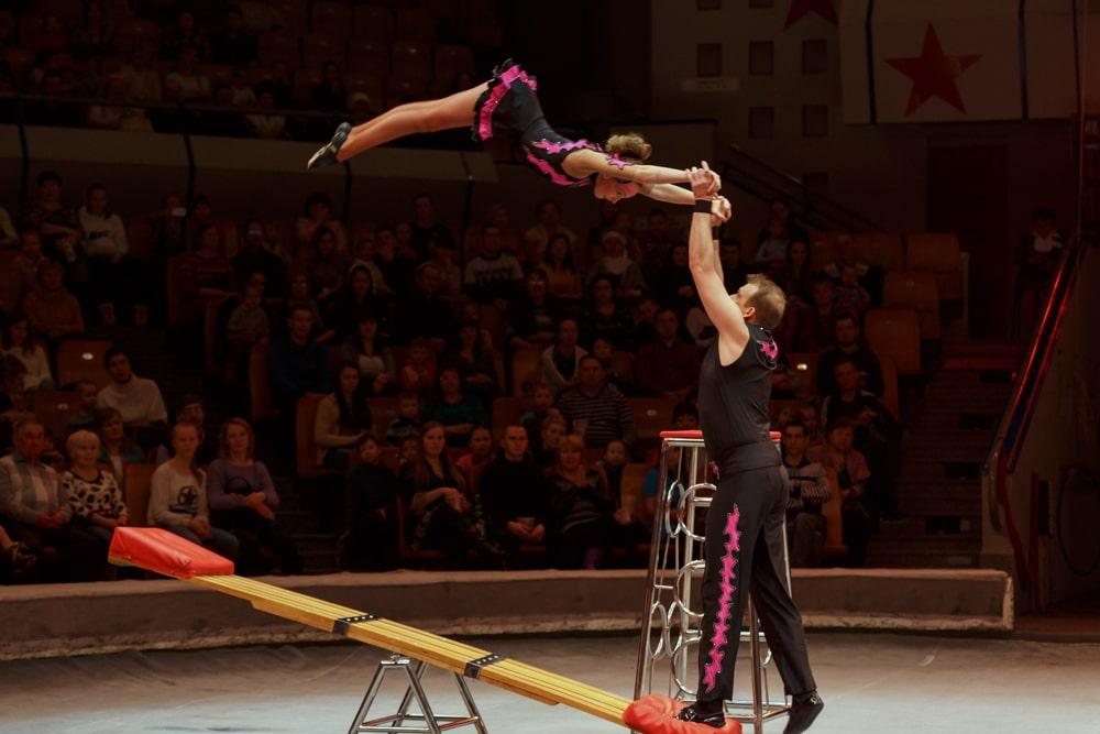 Акробатика на подкидной доске Фото