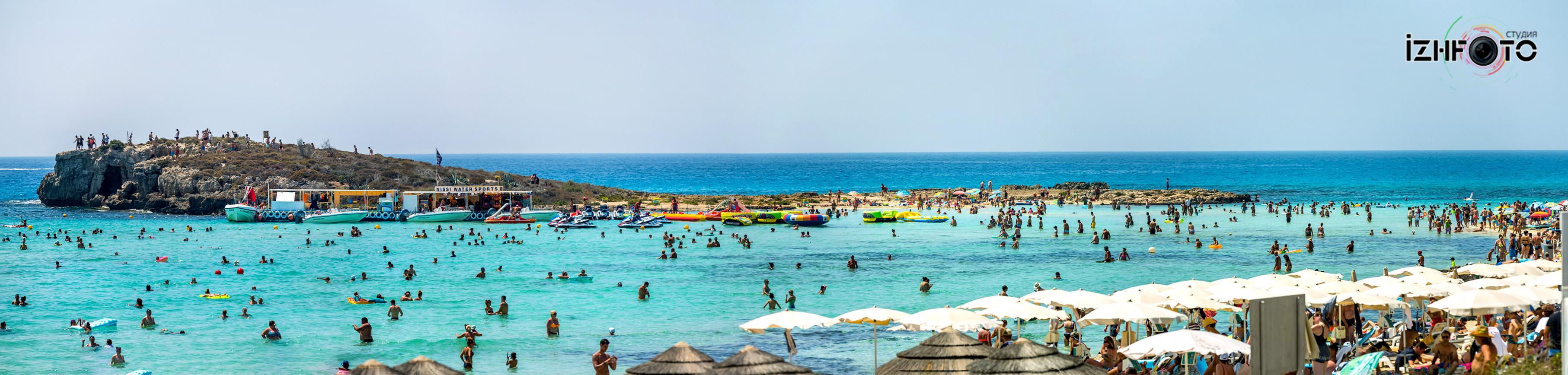 Пляж Нисси Айя Напа Панорама Фото