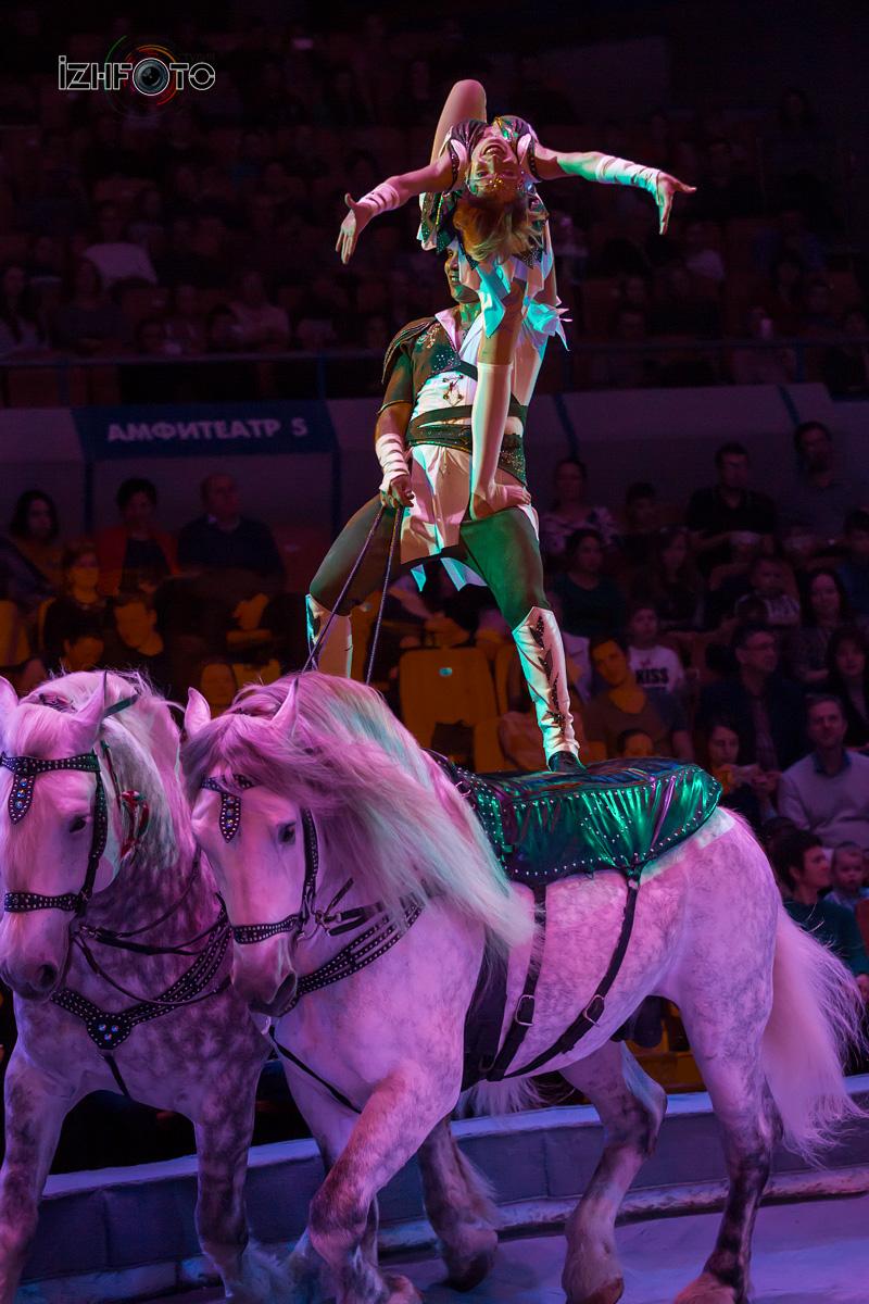 Цирковые трюки на лошадях