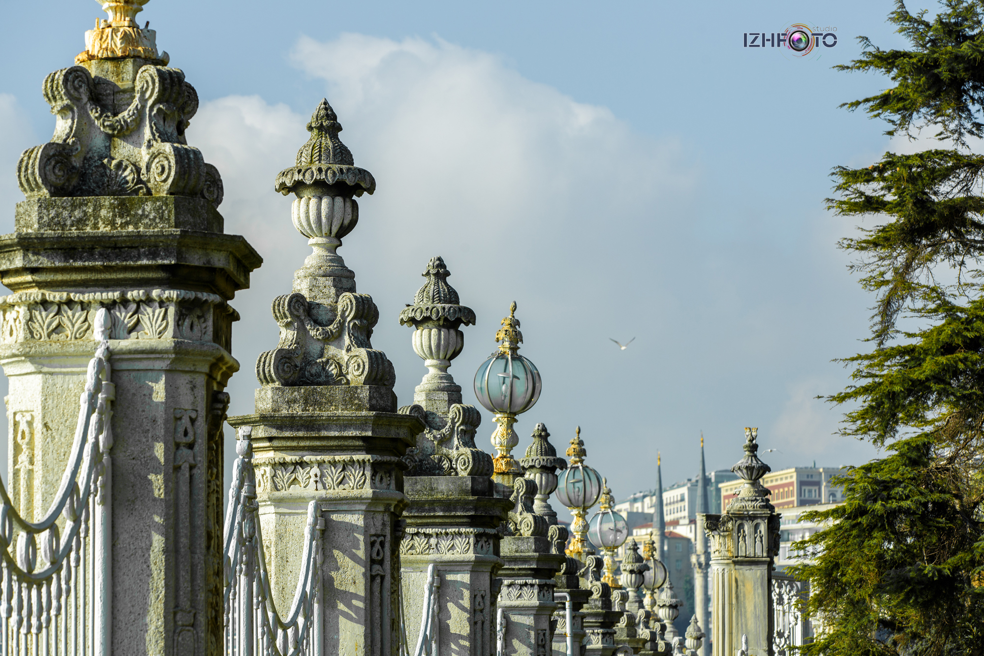 Fence and lanterns of Dolmabahce Palace in Istanbul