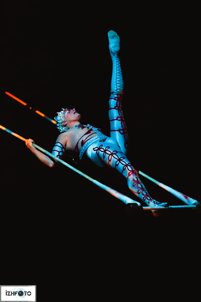 Акробаты на трапециях, опровергая законы тяготения, создают неповторимую гармонию полета