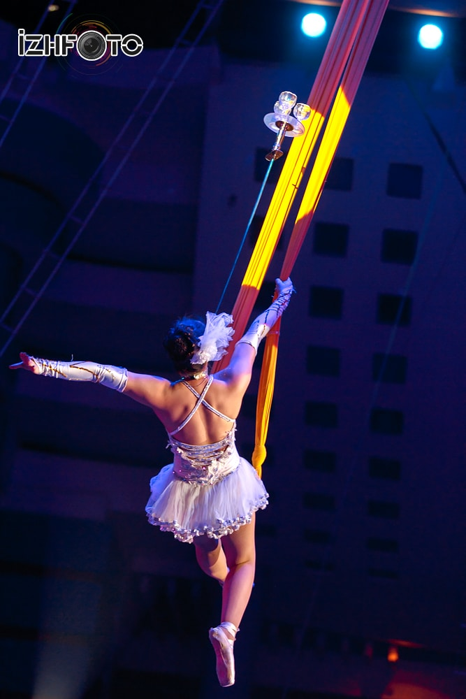 Trinh Tra My aerial silks with swords Vietnam